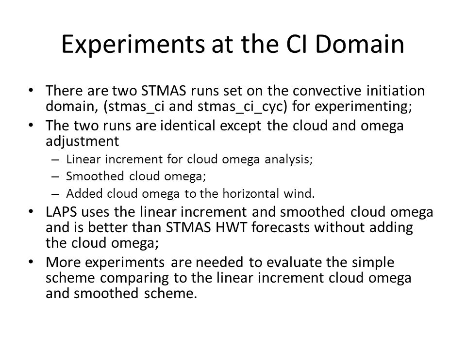 Experiments at the CI Domain