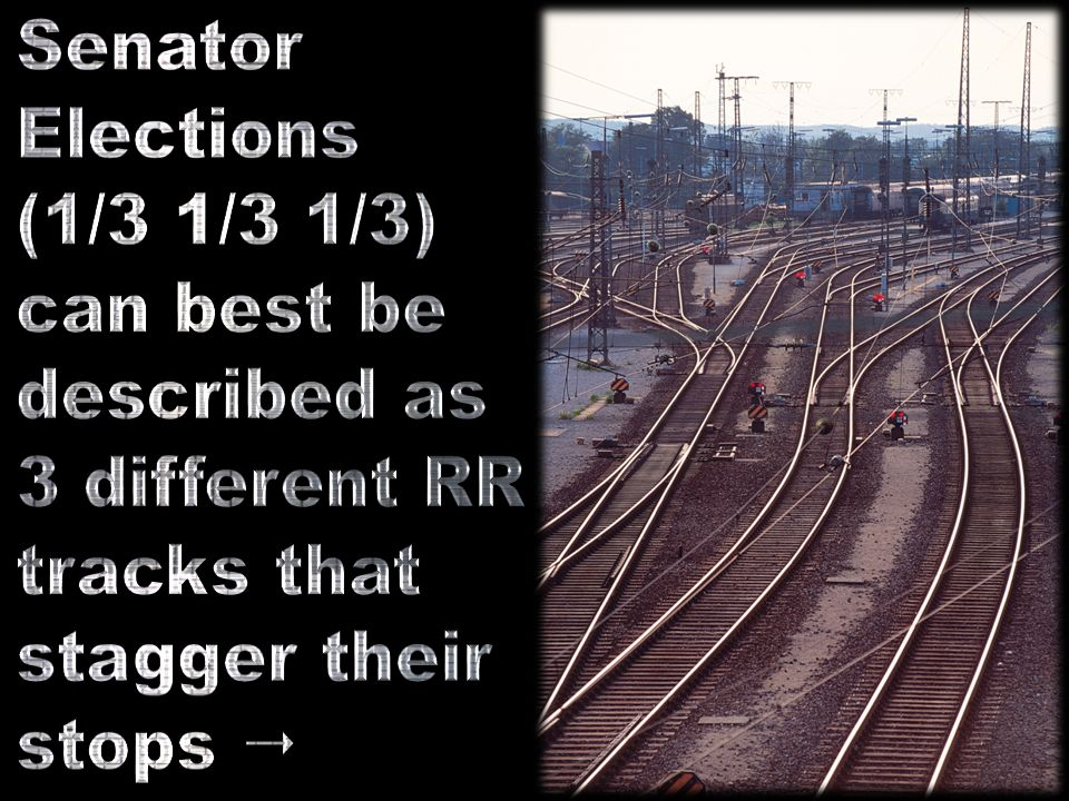 Senator Elections. (1/3 1/3 1/3) can best be. described as. 3 different RR. tracks that. stagger their.