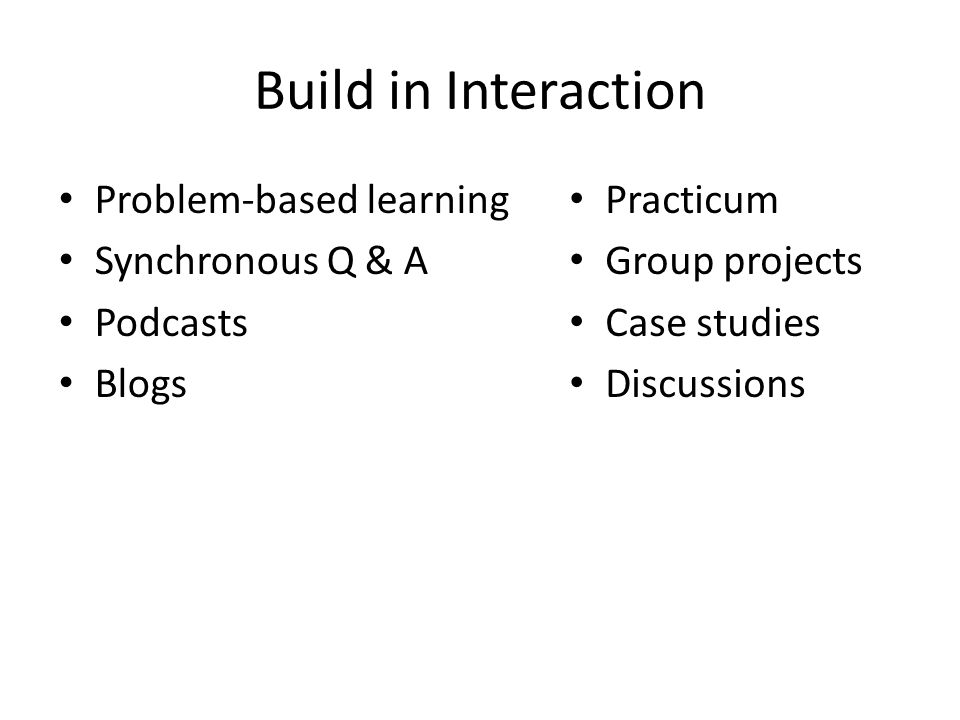 Build in Interaction Problem-based learning Synchronous Q & A Podcasts