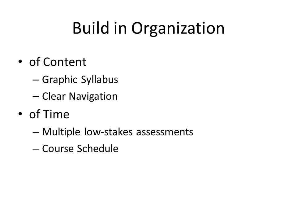 Build in Organization of Content of Time Graphic Syllabus