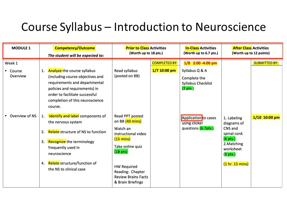 Course Syllabus – Introduction to Neuroscience