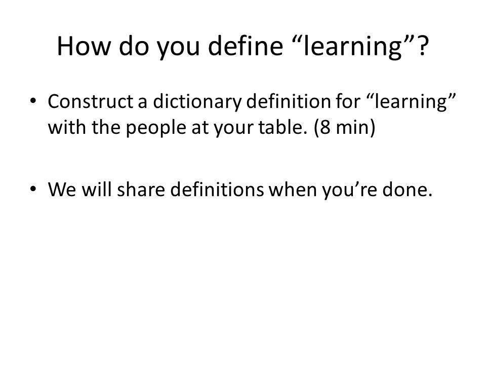 How do you define learning