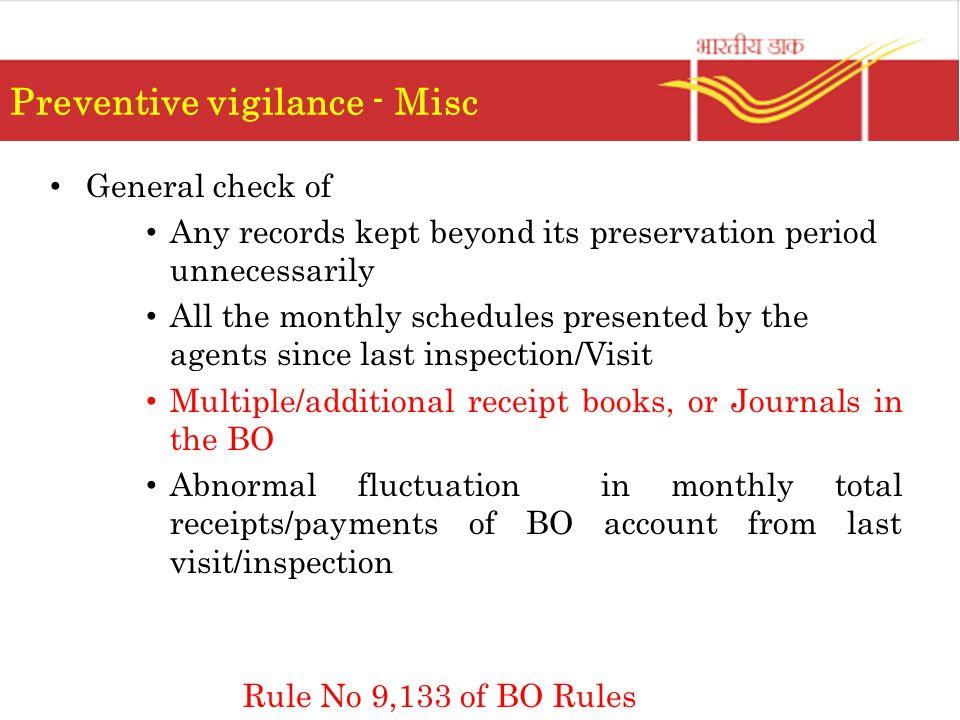 Preventive vigilance - Misc