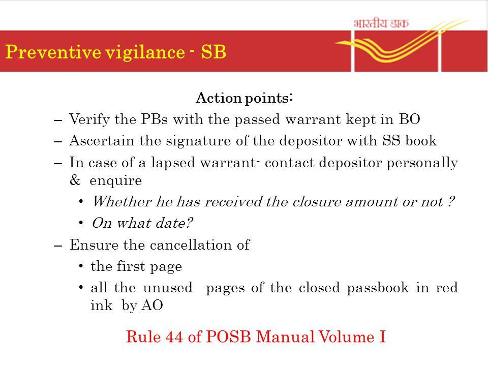 Preventive vigilance - SB