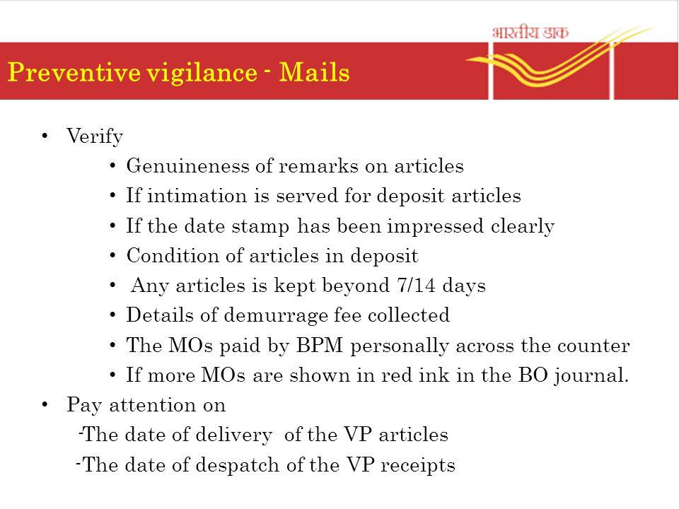 Preventive vigilance - Mails