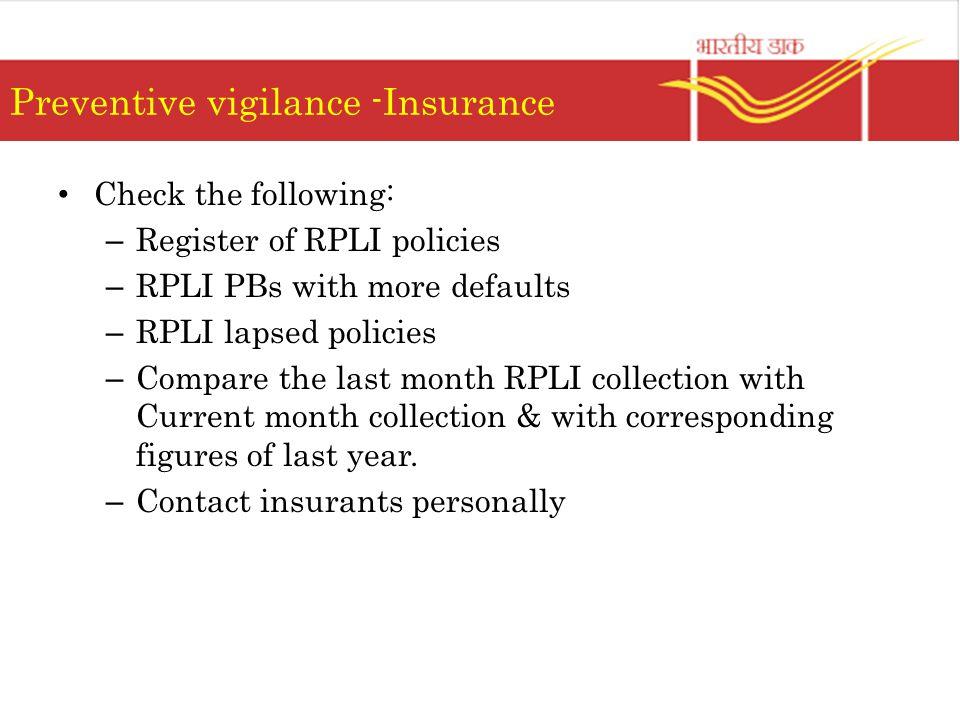 Preventive vigilance -Insurance