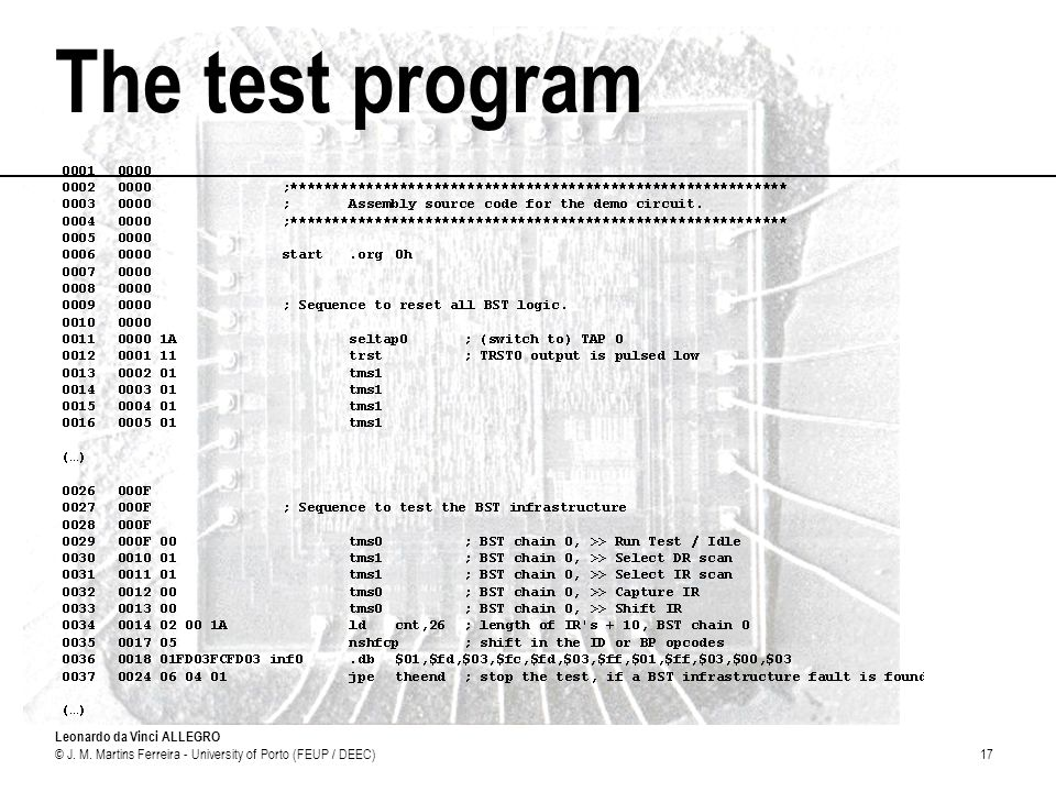 The test program