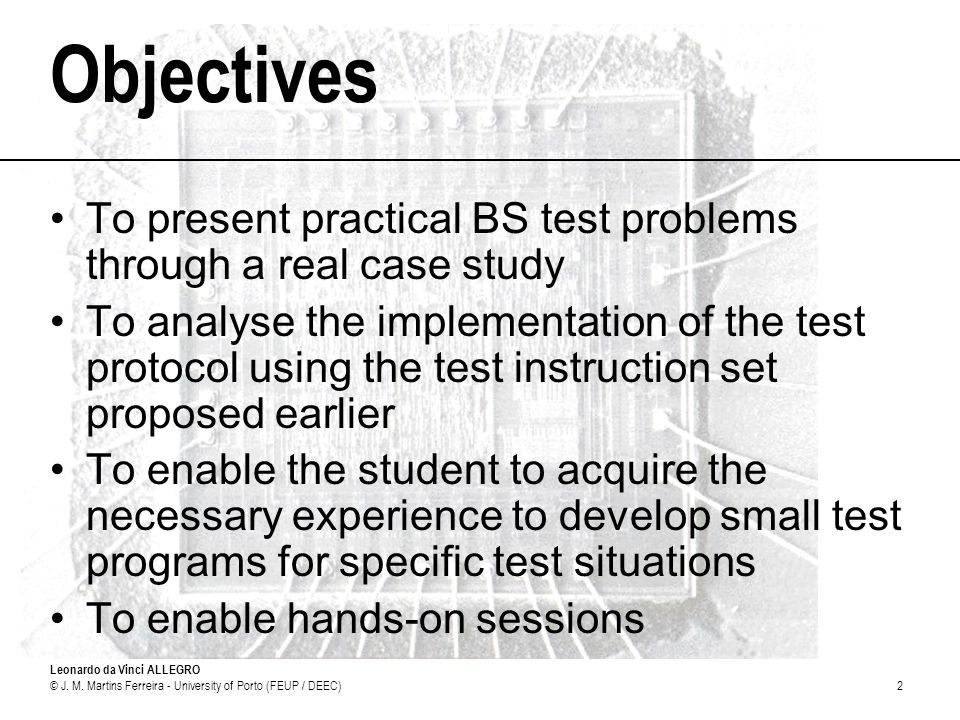 Objectives To present practical BS test problems through a real case study.