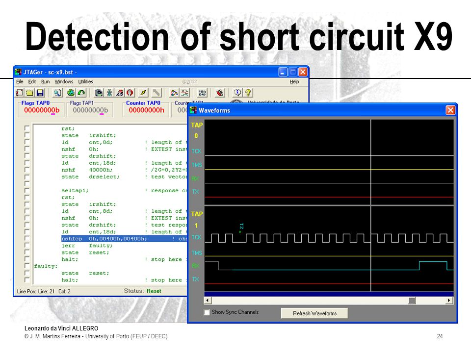 Detection of short circuit X9