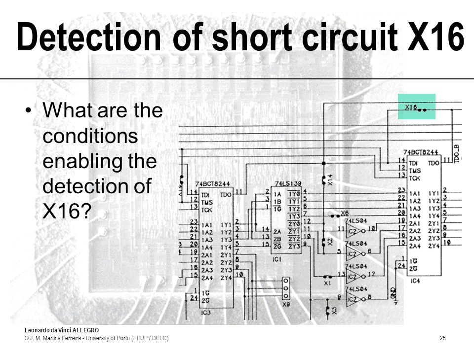 Detection of short circuit X16