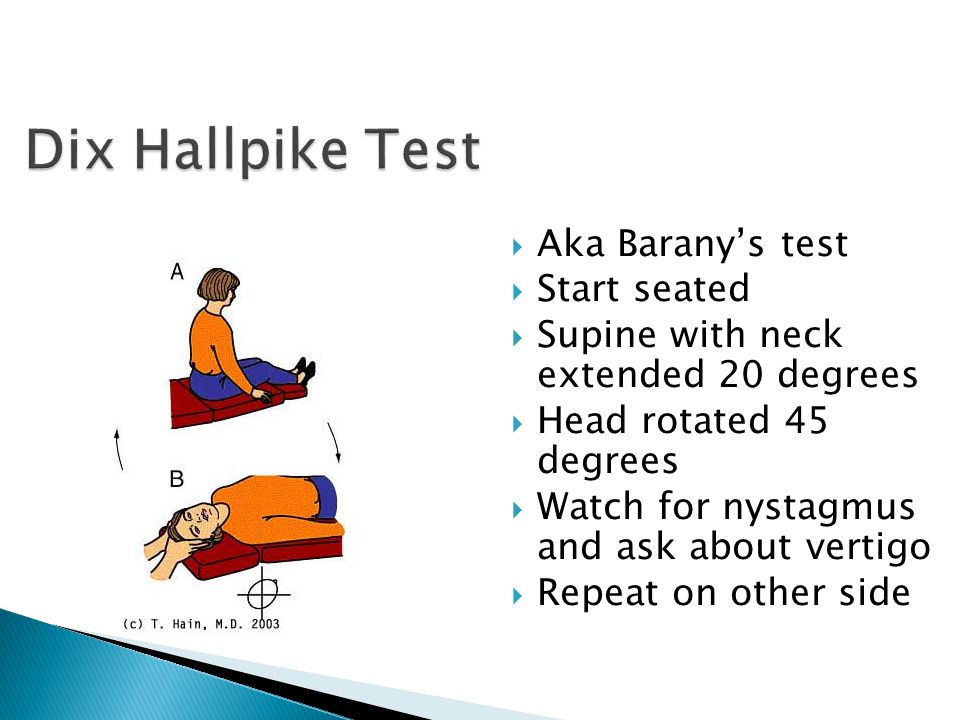 Dix Hallpike Test Aka Barany's test Start seated