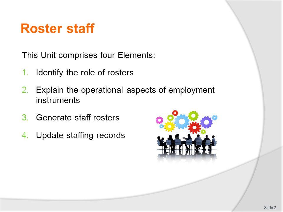 Roster staff This Unit comprises four Elements:
