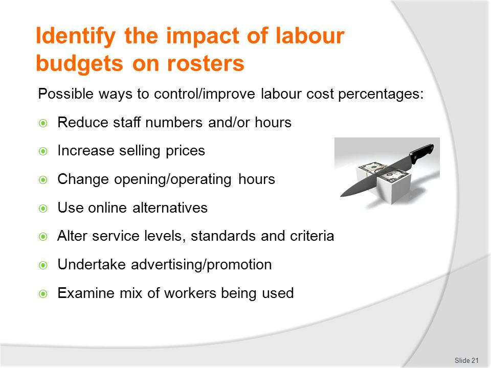 Identify the impact of labour budgets on rosters