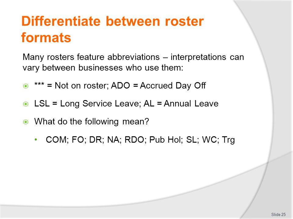 Differentiate between roster formats