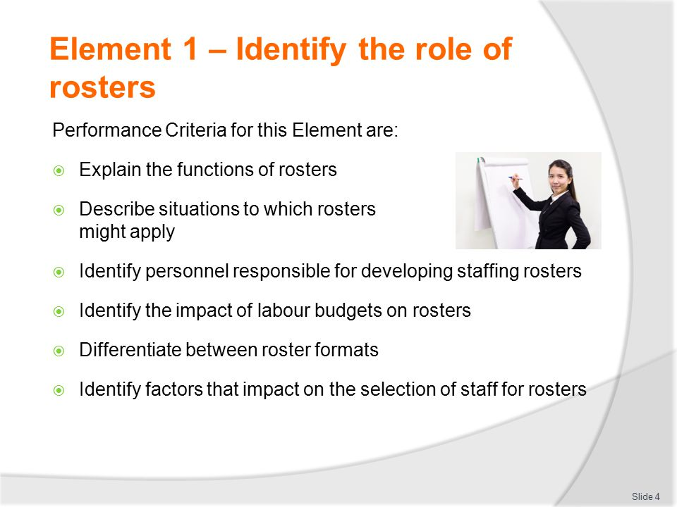 Element 1 – Identify the role of rosters