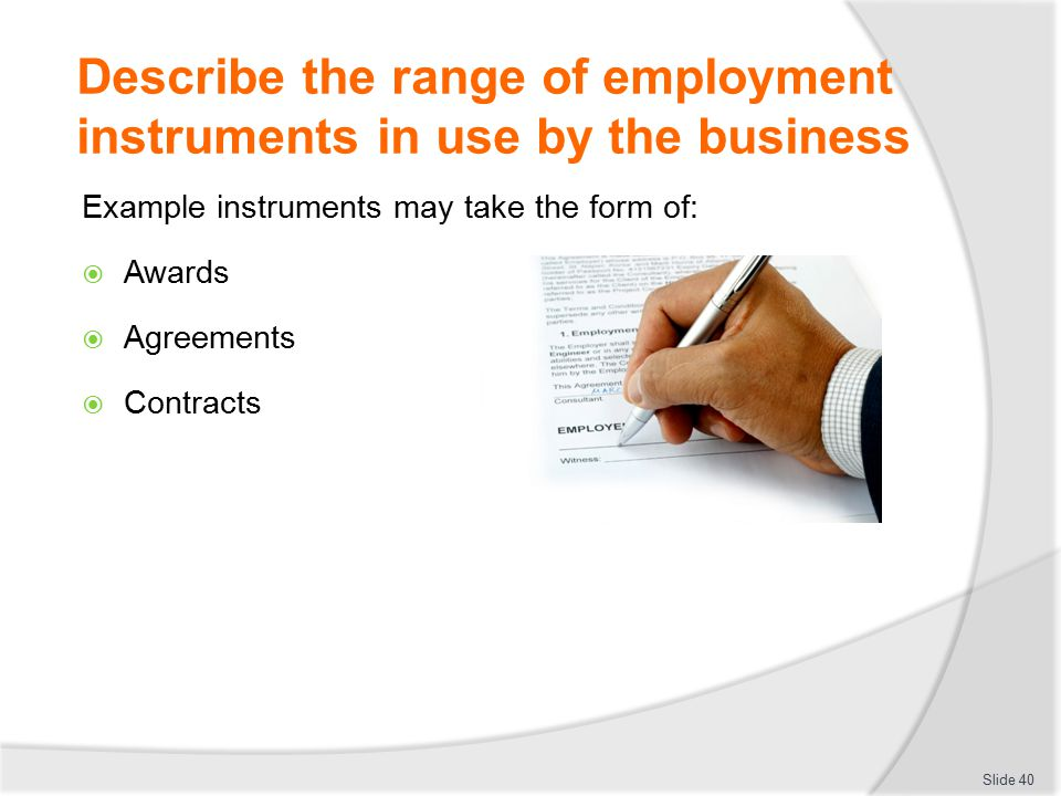 Describe the range of employment instruments in use by the business