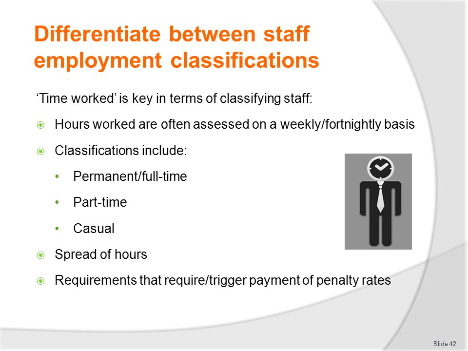 Differentiate between staff employment classifications