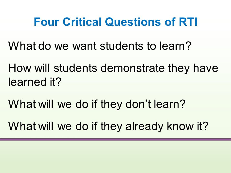 Four Critical Questions of RTI