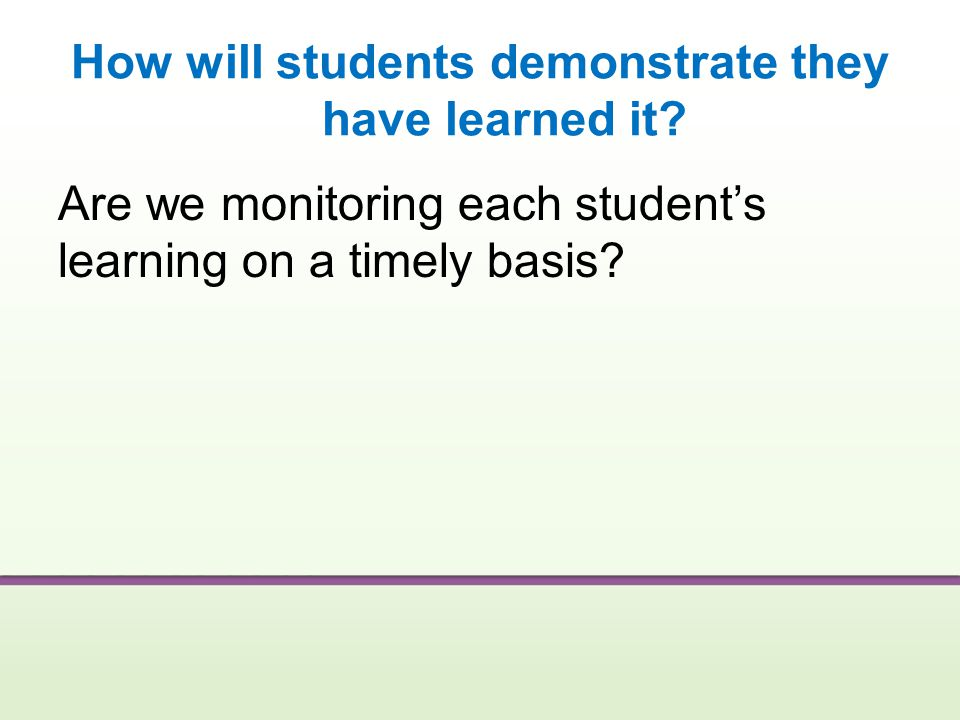How will students demonstrate they have learned it