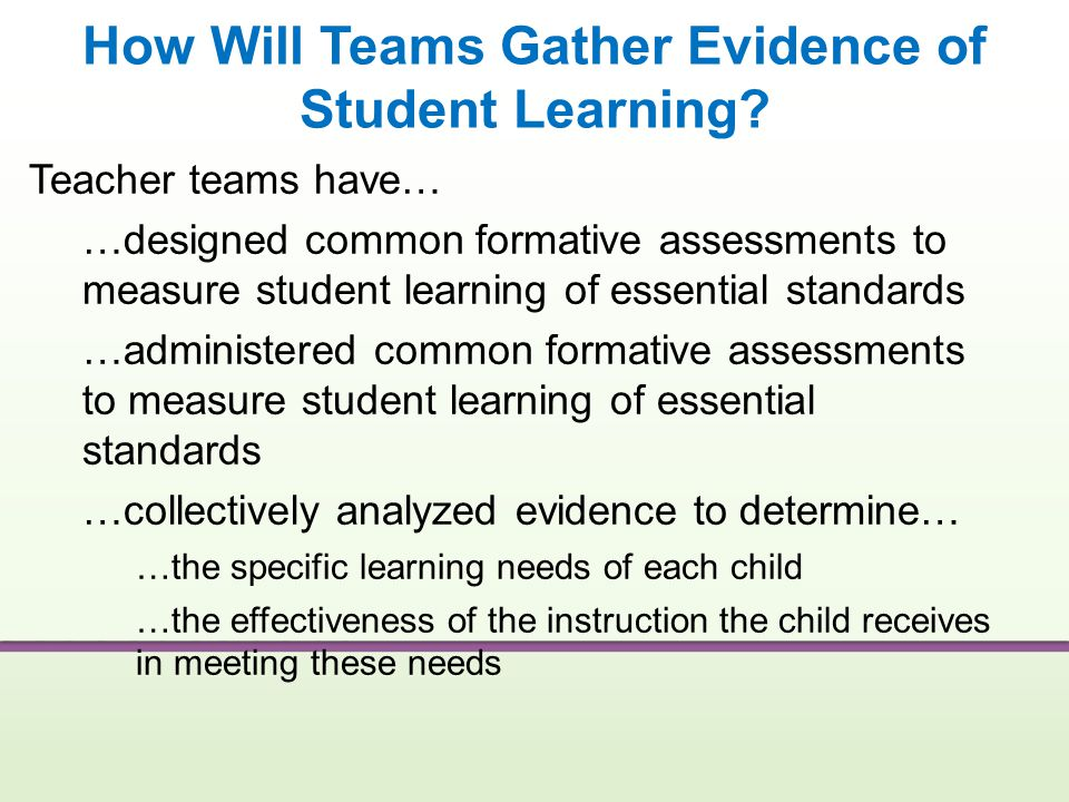 How Will Teams Gather Evidence of Student Learning