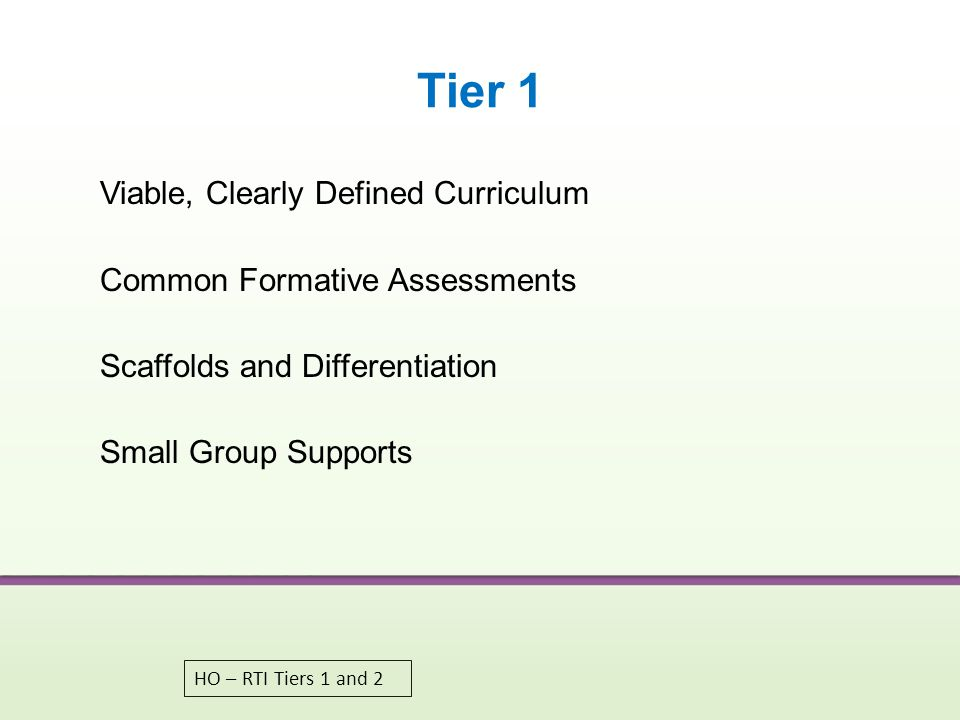 Tier 1 Viable, Clearly Defined Curriculum Common Formative Assessments Scaffolds and Differentiation Small Group Supports
