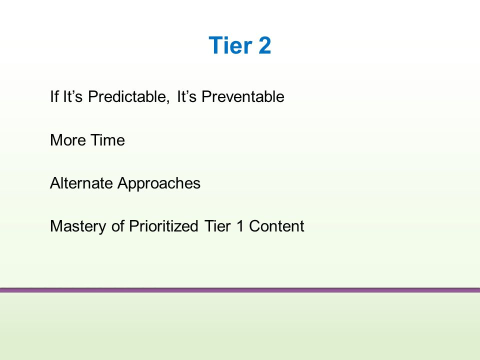 Tier 2 If It's Predictable, It's Preventable More Time Alternate Approaches Mastery of Prioritized Tier 1 Content