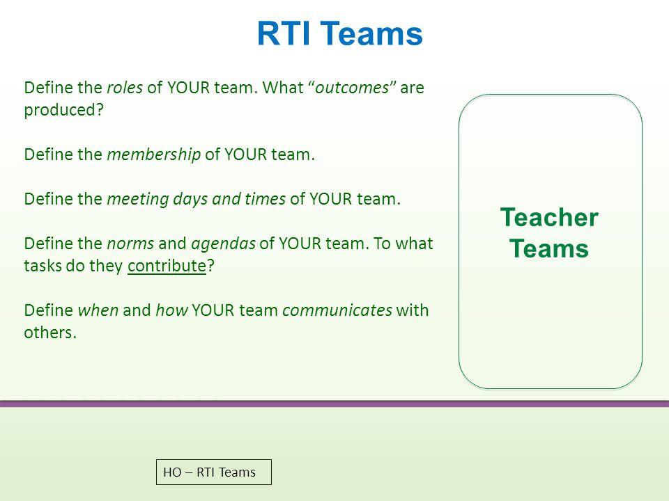 RTI Teams Teacher Teams
