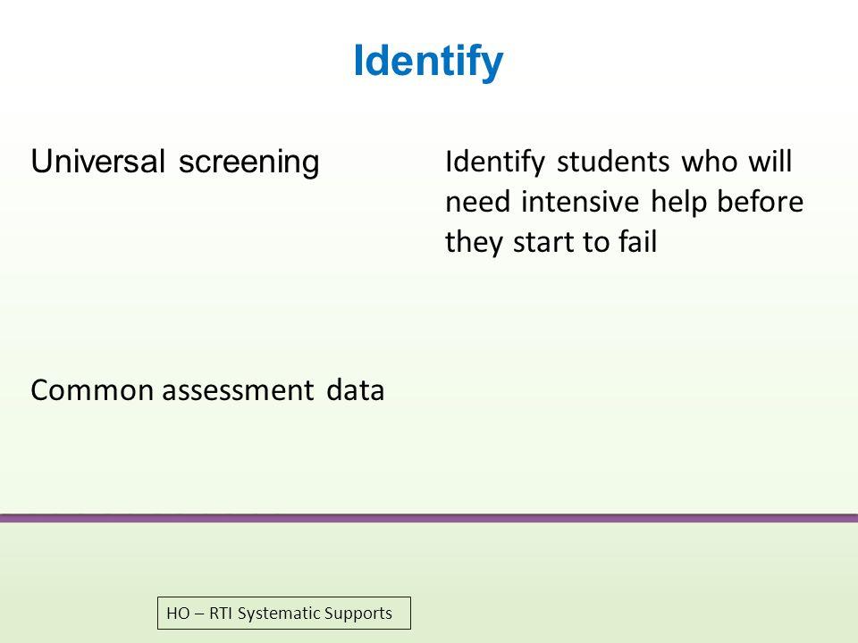 Identify Universal screening