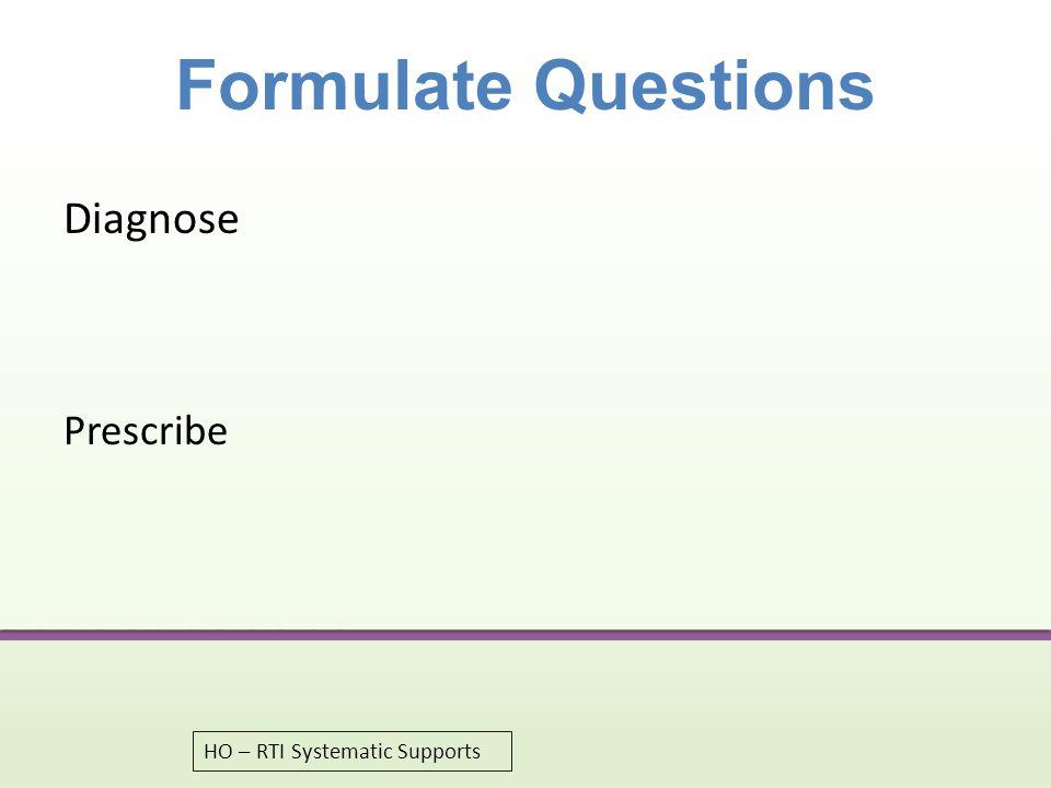 Formulate Questions Diagnose Prescribe HO – RTI Systematic Supports 52