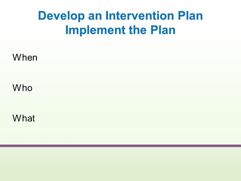 Develop an Intervention Plan Implement the Plan