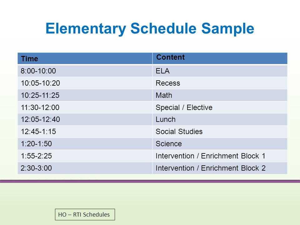 Elementary Schedule Sample