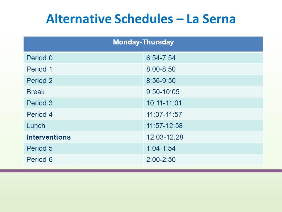 Alternative Schedules – La Serna