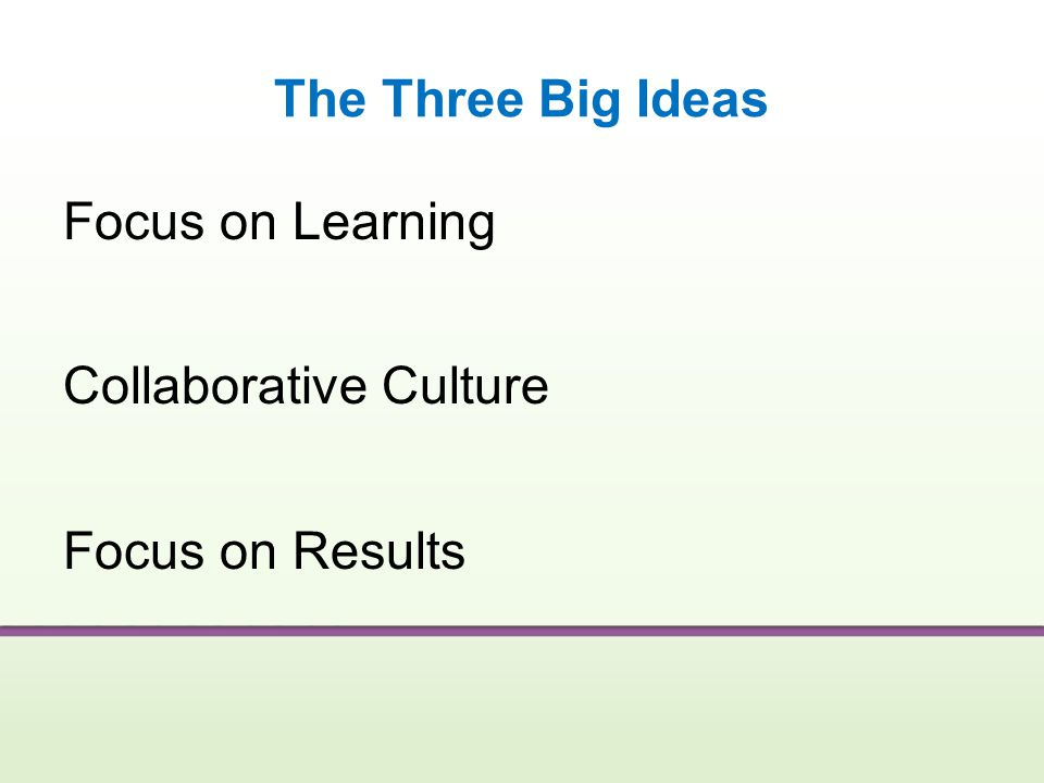 The Three Big Ideas Focus on Learning Collaborative Culture Focus on Results