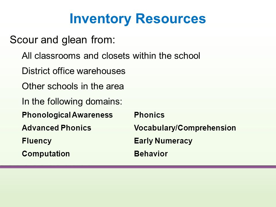 Inventory Resources Scour and glean from: