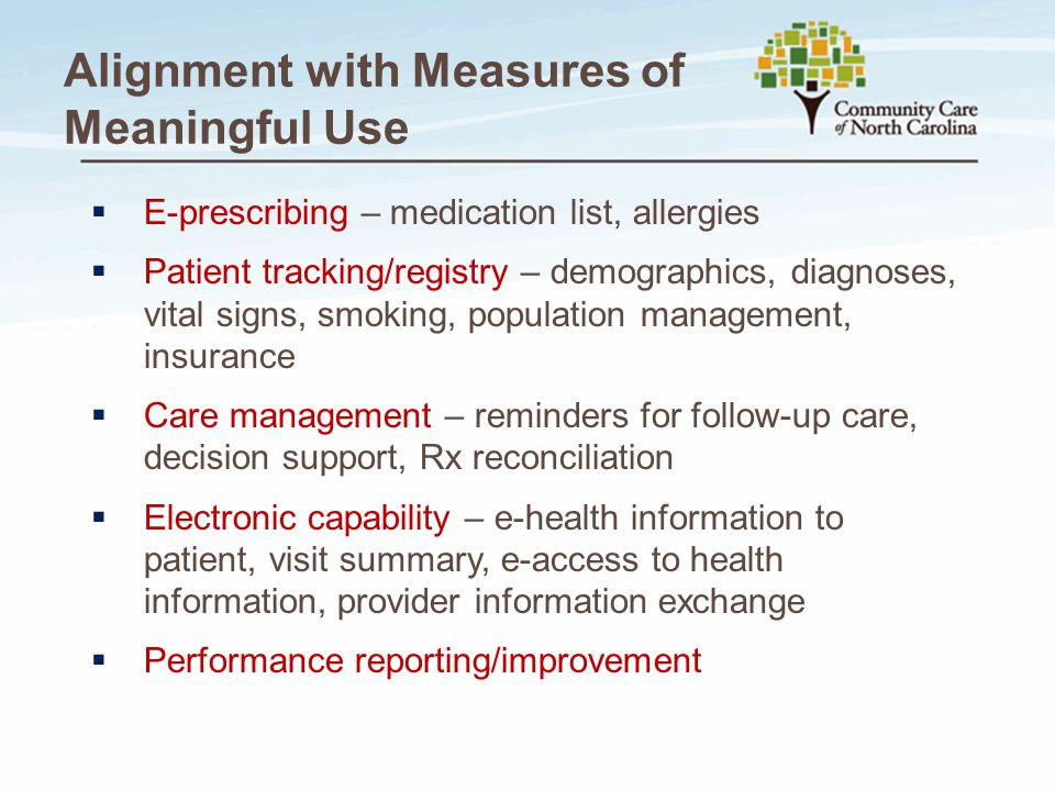 Alignment with Measures of Meaningful Use