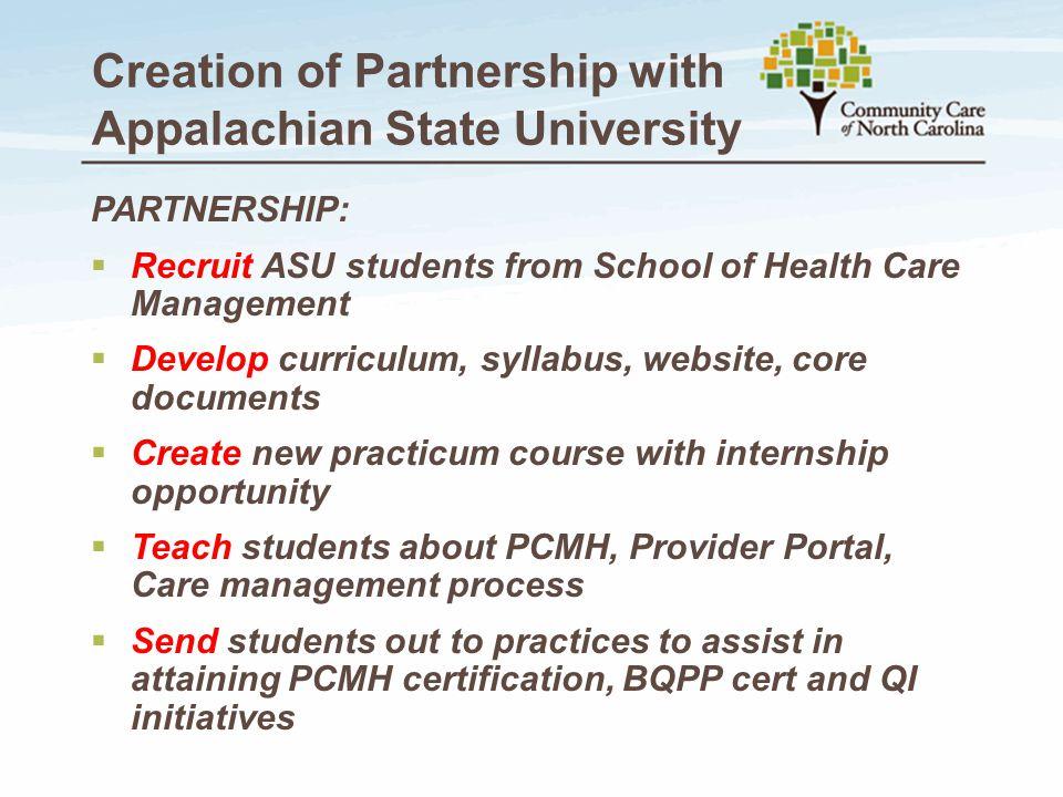 Creation of Partnership with Appalachian State University