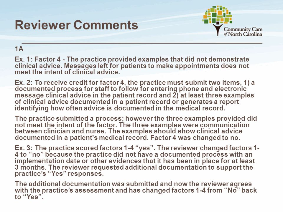 Reviewer Comments 1A.