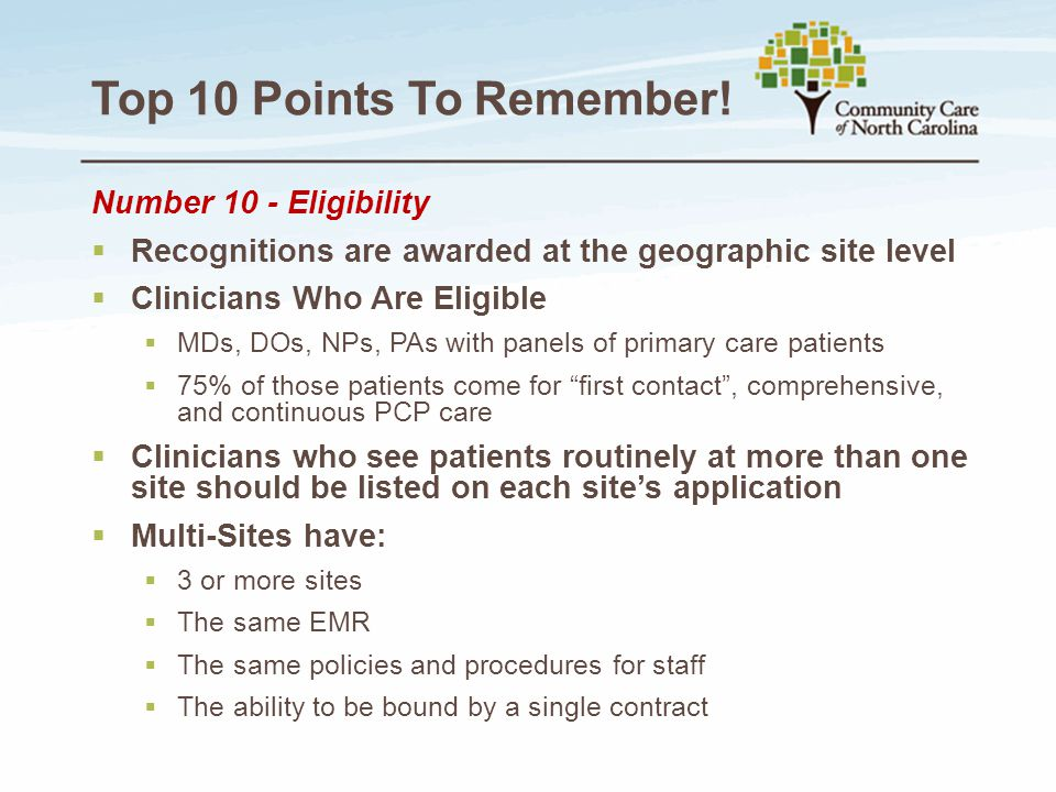 Top 10 Points To Remember! Number 10 - Eligibility