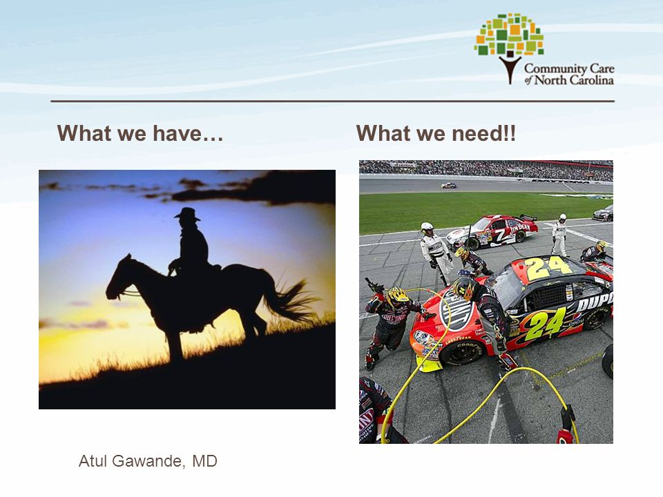 What we have… What we need!! Atul Gawande, MD