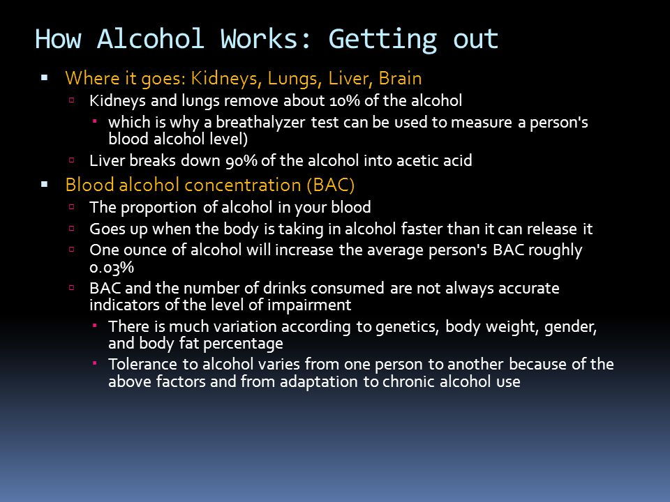 How Alcohol Works: Getting out