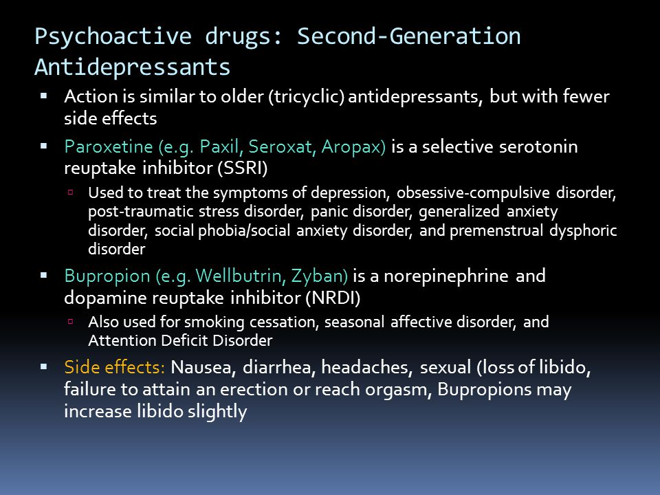 Psychoactive drugs: Second-Generation Antidepressants