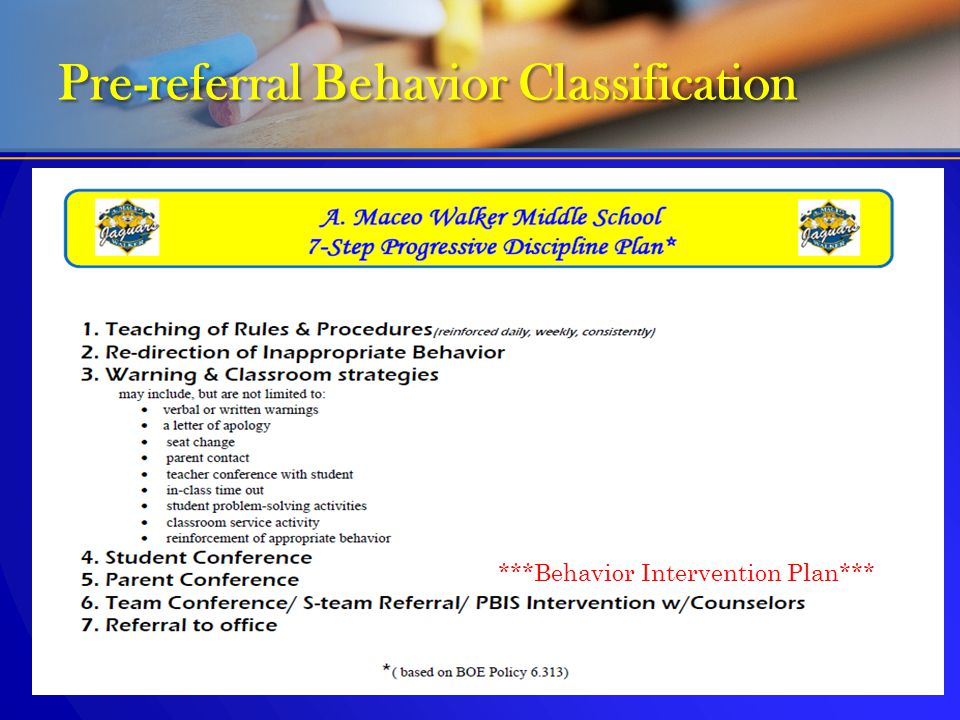 Pre-referral Behavior Classification