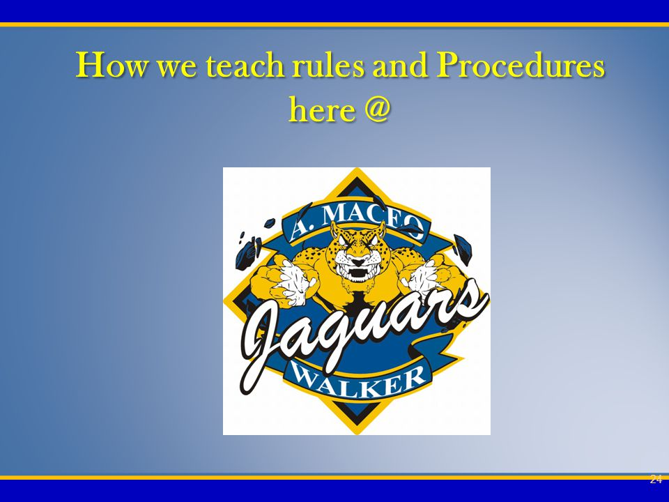 How we teach rules and Procedures here @