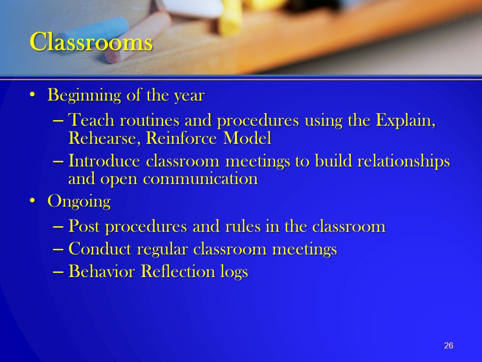 Classrooms Beginning of the year