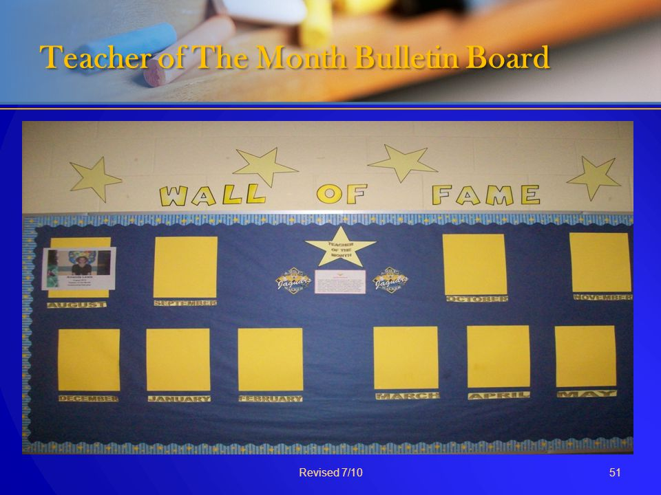 Teacher of The Month Bulletin Board