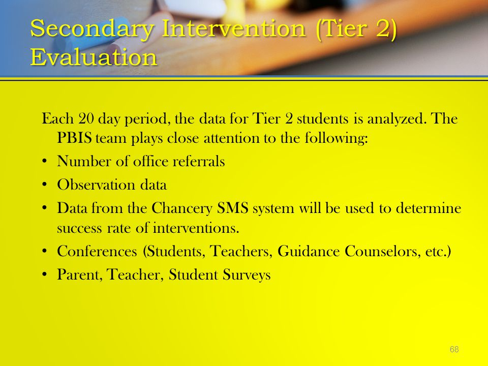 Secondary Intervention (Tier 2) Evaluation