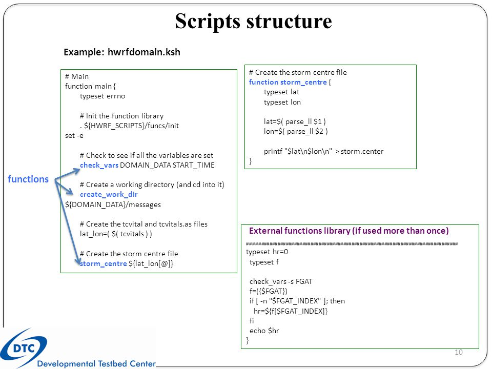 Scripts structure Example: hwrfdomain.ksh functions