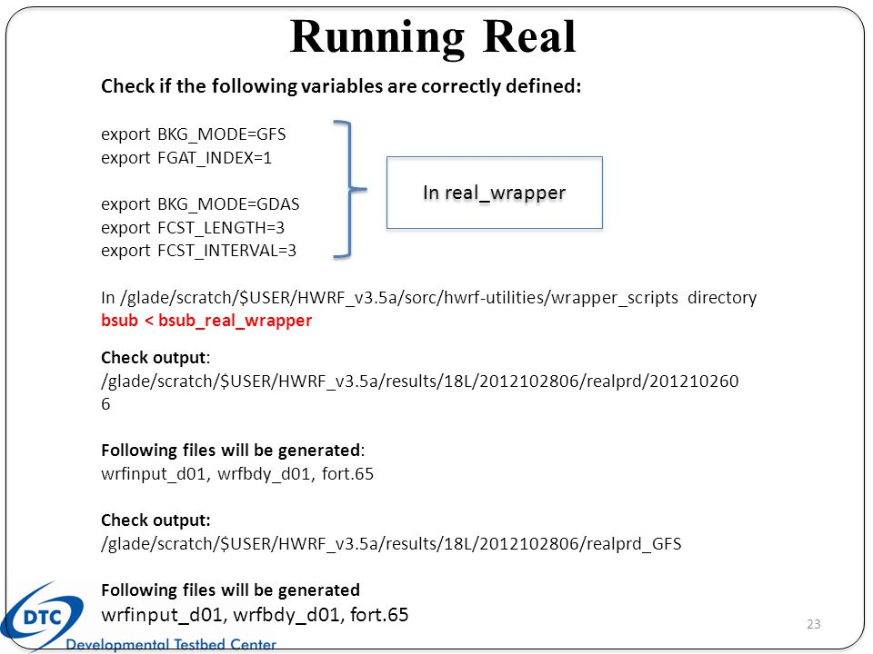Running Real Check if the following variables are correctly defined: