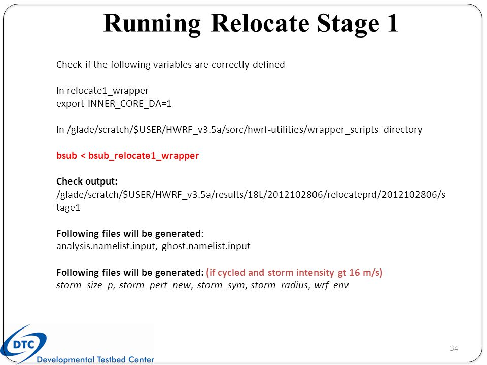 Running Relocate Stage 1
