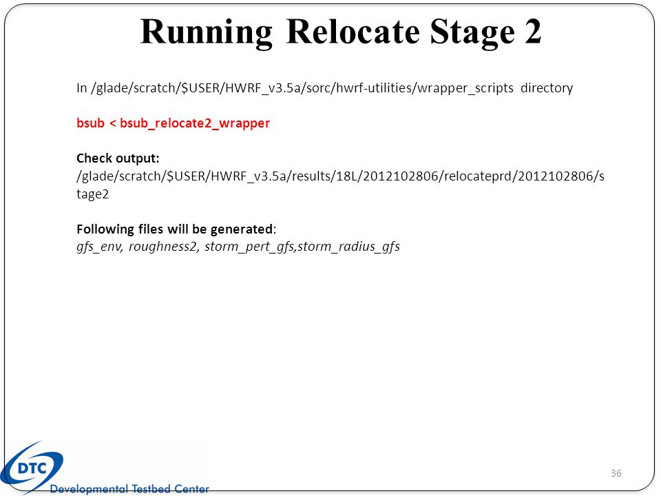 Running Relocate Stage 2